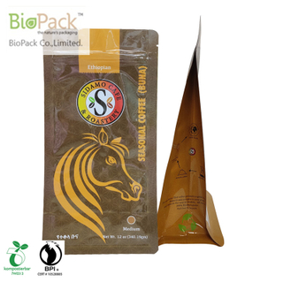 Traditional coffee bag with colour printing one way valve zipper in natural evolution plant base plastic from China