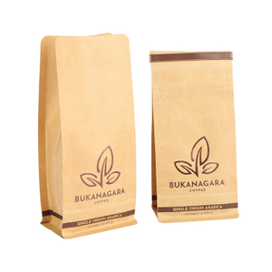 Good Seal Ability Flat Bottom Kraft Paper Ziplock Coffee Bag With Tin Tie