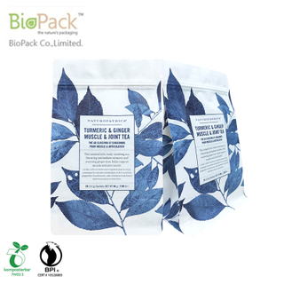 Factory Price 1kg Ziplock Compostable Flat Bottom Tea Packaging Pouch