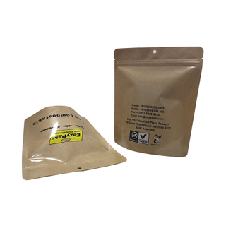 OEM 100% Compostable Food Grade Kraft Stand Up Pouch Custom Printed Zipper Bag Supplier