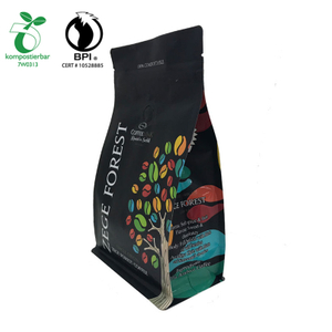 Custom matt printing wholesale decompose cornstarch bag for coffee packing with zipper and valve from China