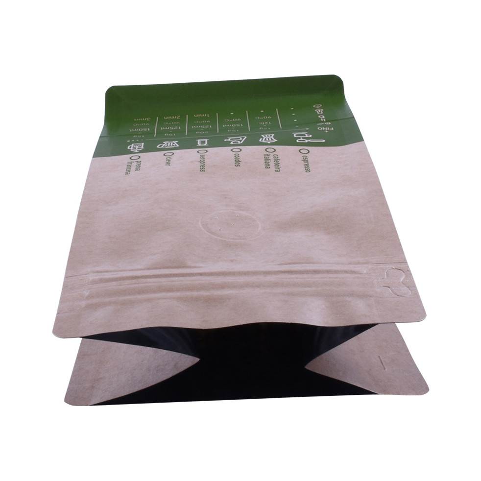 High Quality Compostable Food Grade Custom Natural Kraft Coffee Bag Flat Bottom Pouch With Valve
