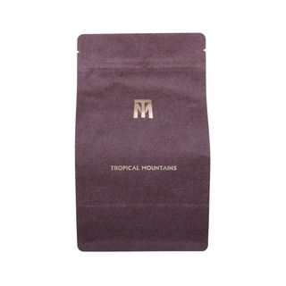 Unprinted Blank Kraft Paper Food Grade Flat Bottom Pouch 250g 500g Brown Coffee Bag With Valve