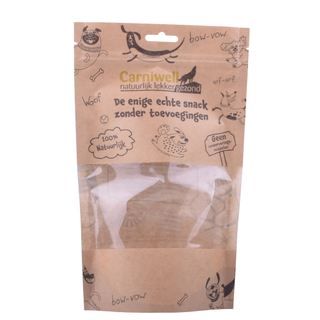 Reusable Compostable Kraft Paper Pet Food Stand Up Pouch Packaging Clear Window Zipper Flexible Bag