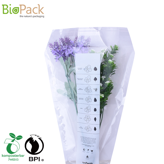 Custom Size 100% Compostable Bio PLA Flower Packaging Clear Film Bags China Factory