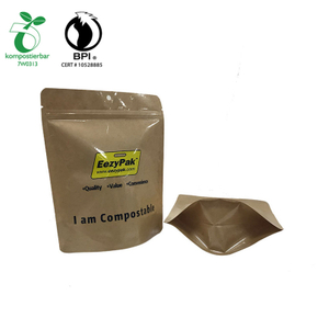Reclosable Stand up Kraft Compostable Zipper Packaging Bag for seed from China