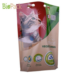 Custom Print Stand Up Cat Litter Packing Bag in Kraft Paper Compostable material