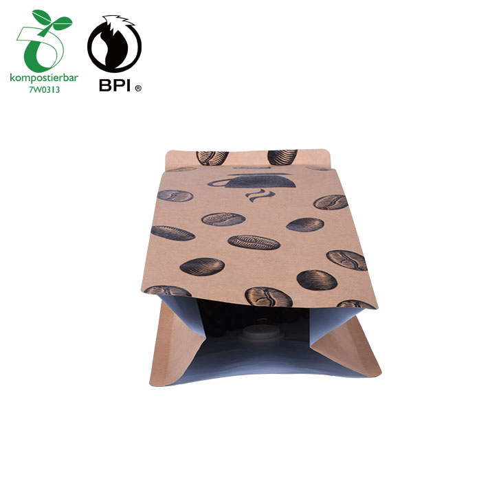 Biodegradable Flat Bottom Empty Coffee Bag with Valve
