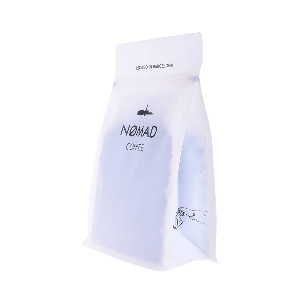 Wholesale Matte Compostable Coffee Flat Bottom Bag With Ziplock