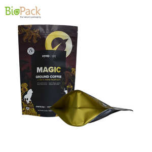 Custom Logo Design PLA Kraft Paper Stand Up Compostable Coffee Bags Manufacturer Near Me