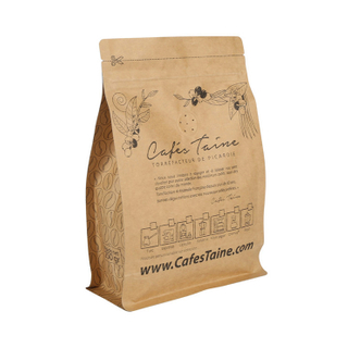 250Gr Kraft Paper Box Bottom Pouch One Way Valve Ziplock Coffee Bag