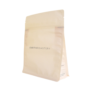 Custom printed home biodegradable translucent coffee packaging square bottom empty food bag zipper pouch