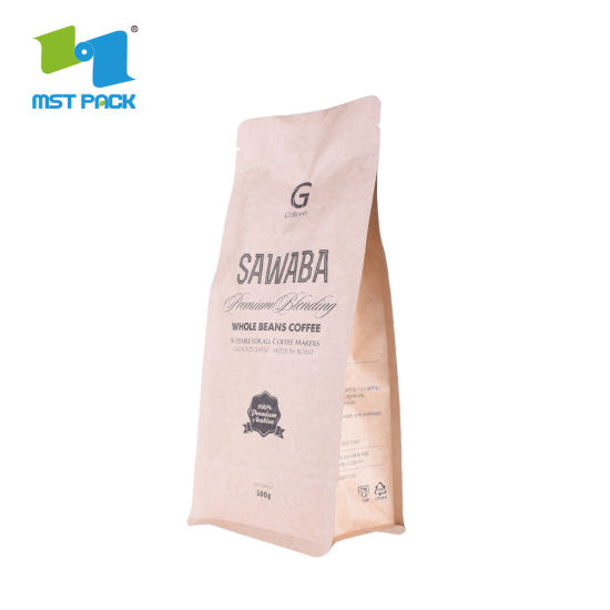 Eco Friendly 1kg 32oz Compostable Coffee Packaging Biodegradable Paper Zipper Bag with Valve