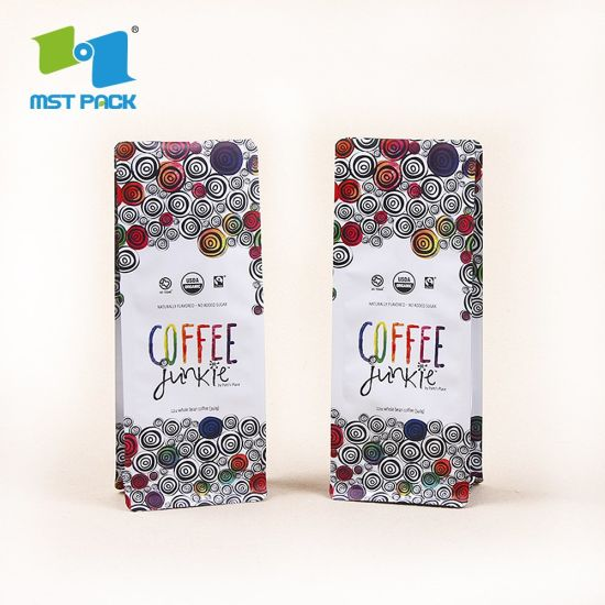 Strong Sealing Environmental Friendly Side Flat Bottom Custom Printing Wholesale Biodegradable Coffee Packaging Bag with Valve