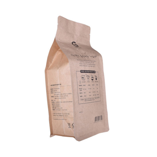 Biodegradable Quad Sealed Coffee Bag Side Gusset Quad Seal Kraft Coffee Bag Eight Side Seal Kraft Coffee Bag