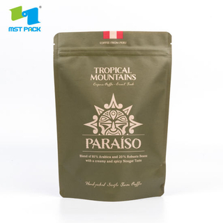 Full Printed 250g Eco Compostable Coffee Bag Biodegradable Ziplock Bag with One Way Valve